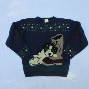 Vintage Woolrich Wool Dog Sweater L